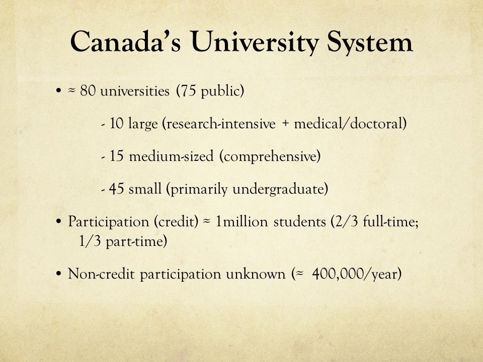 Canadas University System 80 universities (75 public) - 10 large (research-intensive + medical/doctoral) - 15 medium-sized (comprehensive) - 45 small (primarily undergraduate) Participation (credit) 1million students (2/3 full-time; 1/3 part-time) Non-credit participation unknown ( 400,000/year)