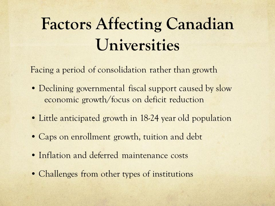 Factors Affecting Canadian Universities Facing a period of consolidation rather than growth Declining governmental fiscal support caused by slow economic growth/focus on deficit reduction Little anticipated growth in year old population Caps on enrollment growth, tuition and debt Inflation and deferred maintenance costs Challenges from other types of institutions
