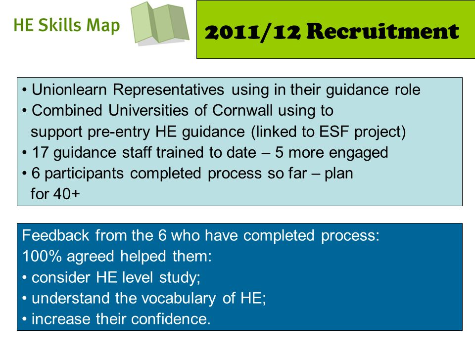 2011/12 Recruitment Unionlearn Representatives using in their guidance role Combined Universities of Cornwall using to support pre-entry HE guidance (linked to ESF project) 17 guidance staff trained to date – 5 more engaged 6 participants completed process so far – plan for 40+ Feedback from the 6 who have completed process: 100% agreed helped them: consider HE level study; understand the vocabulary of HE; increase their confidence.