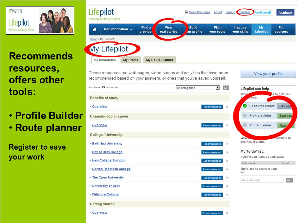 Recommends resources, offers other tools: Profile Builder Route planner Register to save your work