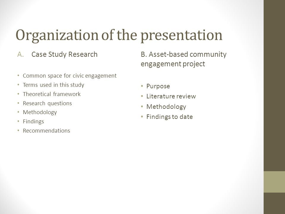 Organization of the presentation A.Case Study Research Common space for civic engagement Terms used in this study Theoretical framework Research quest
