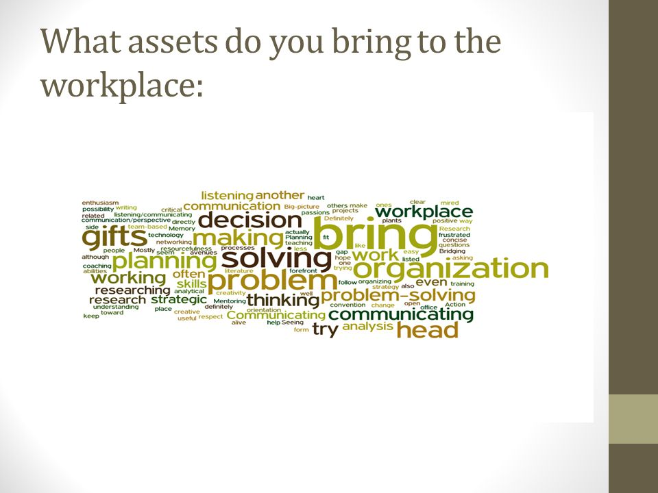 What assets do you bring to the workplace:
