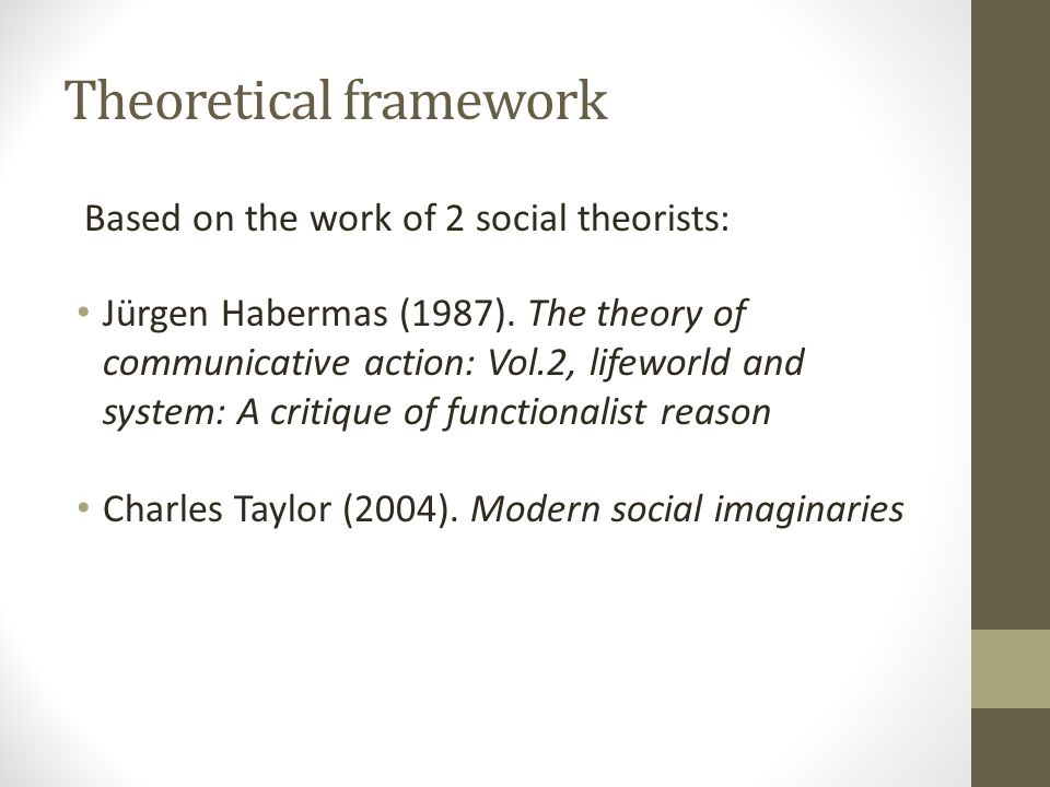 Belief that public debate is necessary for social change Linguistic communication and the goals of civil society are incorporated into a moral framework The concepts of system, lifeworld and seam provide a structure for understanding the tensions between the groups Habermas :