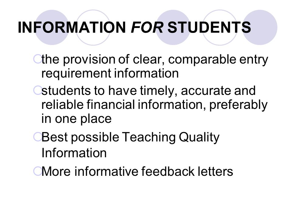 INFORMATION FOR STUDENTS the provision of clear, comparable entry requirement information students to have timely, accurate and reliable financial inf