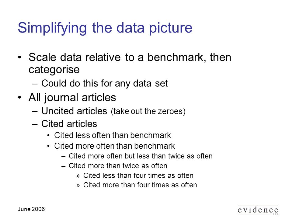 June 2006 Simplifying the data picture Scale data relative to a benchmark, then categorise –Could do this for any data set All journal articles –Uncited articles (take out the zeroes) –Cited articles Cited less often than benchmark Cited more often than benchmark –Cited more often but less than twice as often –Cited more than twice as often »Cited less than four times as often »Cited more than four times as often