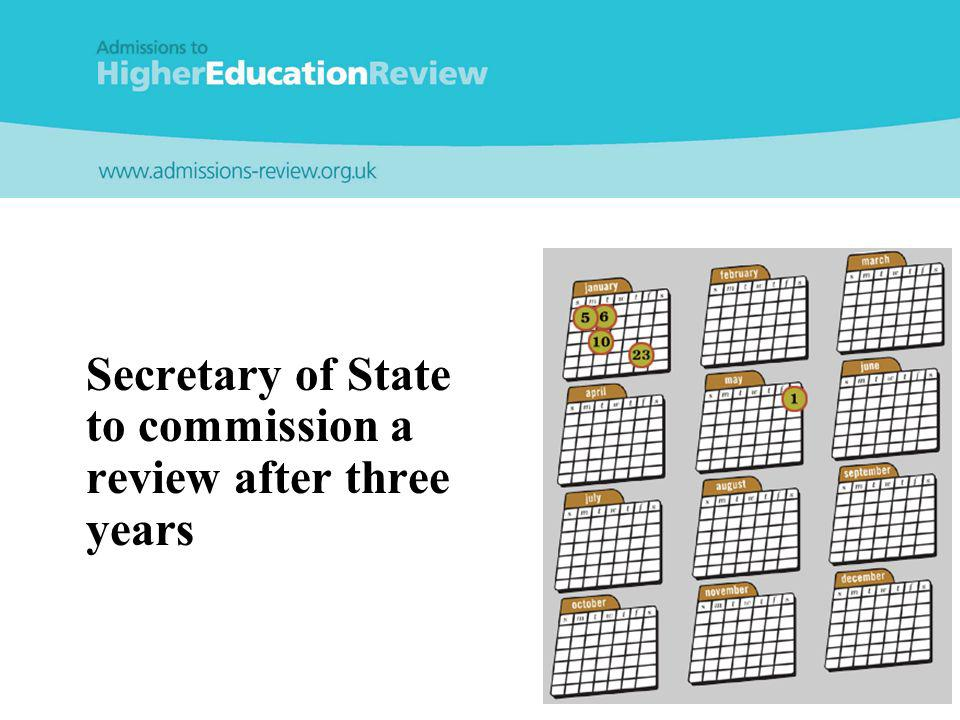 Secretary of State to commission a review after three years