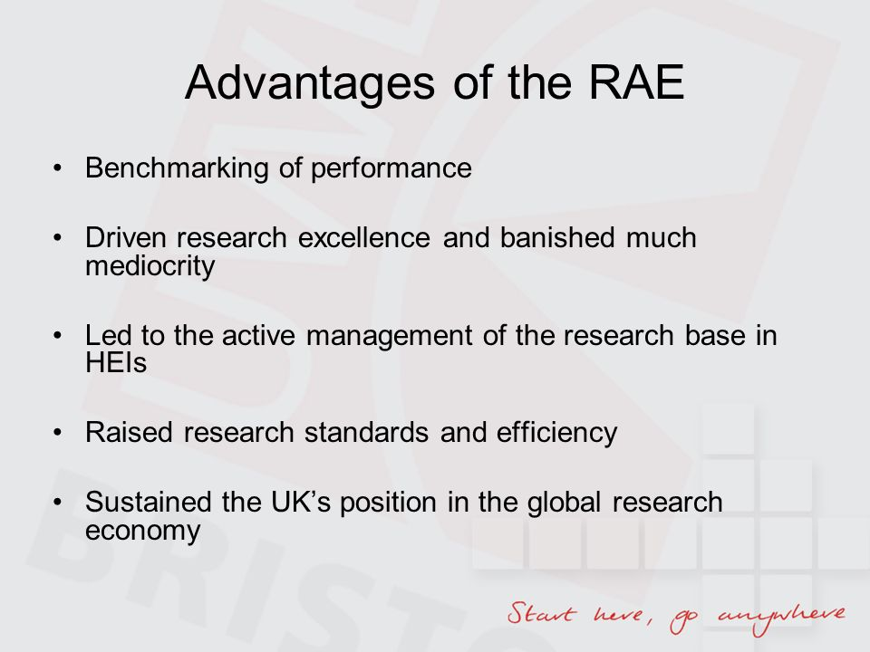 Advantages of the RAE Benchmarking of performance Driven research excellence and banished much mediocrity Led to the active management of the research base in HEIs Raised research standards and efficiency Sustained the UKs position in the global research economy
