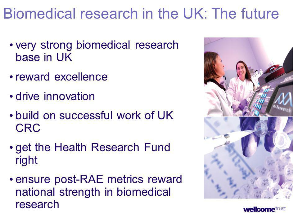 very strong biomedical research base in UK reward excellence drive innovation build on successful work of UK CRC get the Health Research Fund right ensure post-RAE metrics reward national strength in biomedical research Biomedical research in the UK: The future