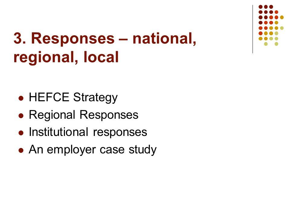 3. Responses – national, regional, local HEFCE Strategy Regional Responses Institutional responses An employer case study