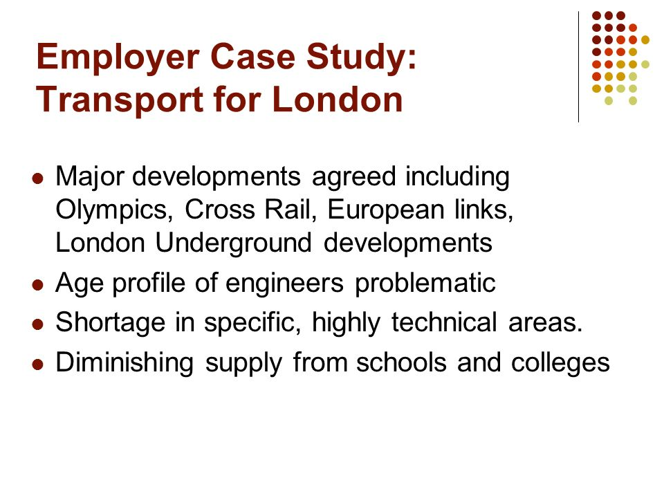 Employer Case Study: Transport for London Major developments agreed including Olympics, Cross Rail, European links, London Underground developments Age profile of engineers problematic Shortage in specific, highly technical areas.