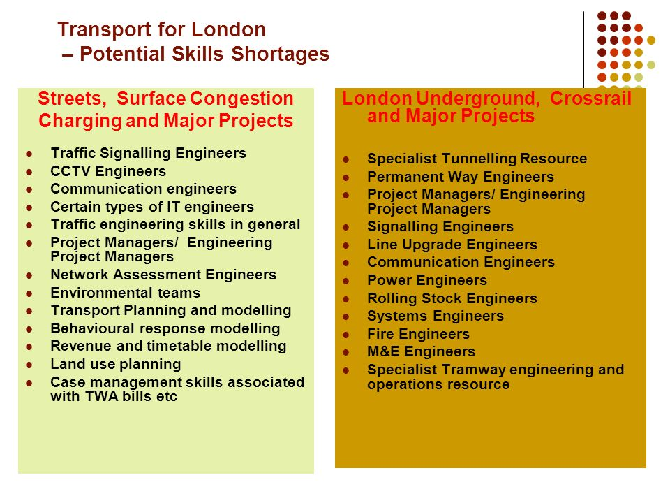 Transport for London – Potential Skills Shortages Streets, Surface Congestion Charging and Major Projects Traffic Signalling Engineers CCTV Engineers Communication engineers Certain types of IT engineers Traffic engineering skills in general Project Managers/ Engineering Project Managers Network Assessment Engineers Environmental teams Transport Planning and modelling Behavioural response modelling Revenue and timetable modelling Land use planning Case management skills associated with TWA bills etc London Underground, Crossrail and Major Projects Specialist Tunnelling Resource Permanent Way Engineers Project Managers/ Engineering Project Managers Signalling Engineers Line Upgrade Engineers Communication Engineers Power Engineers Rolling Stock Engineers Systems Engineers Fire Engineers M&E Engineers Specialist Tramway engineering and operations resource