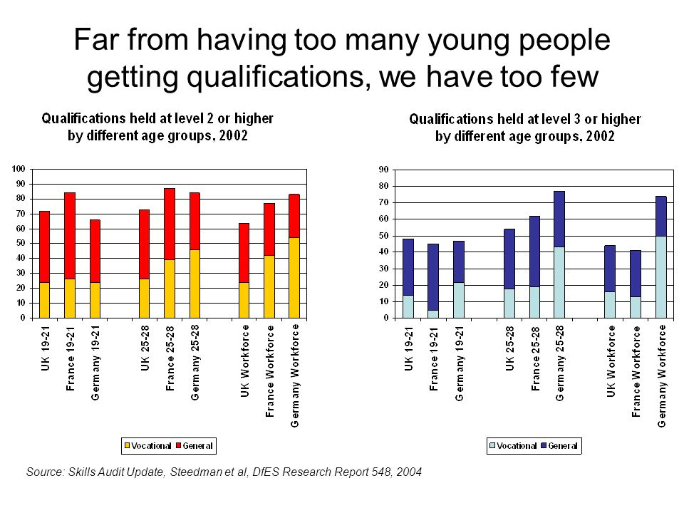 Far from having too many young people getting qualifications, we have too few Source: Skills Audit Update, Steedman et al, DfES Research Report 548, 2004