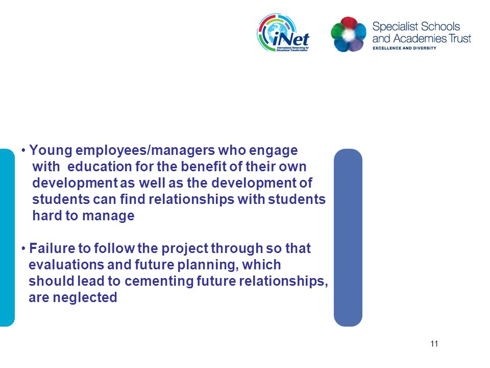 Young employees/managers who engage with education for the benefit of their own development as well as the development of students can find relationships with students hard to manage Failure to follow the project through so that evaluations and future planning, which should lead to cementing future relationships, are neglected 11