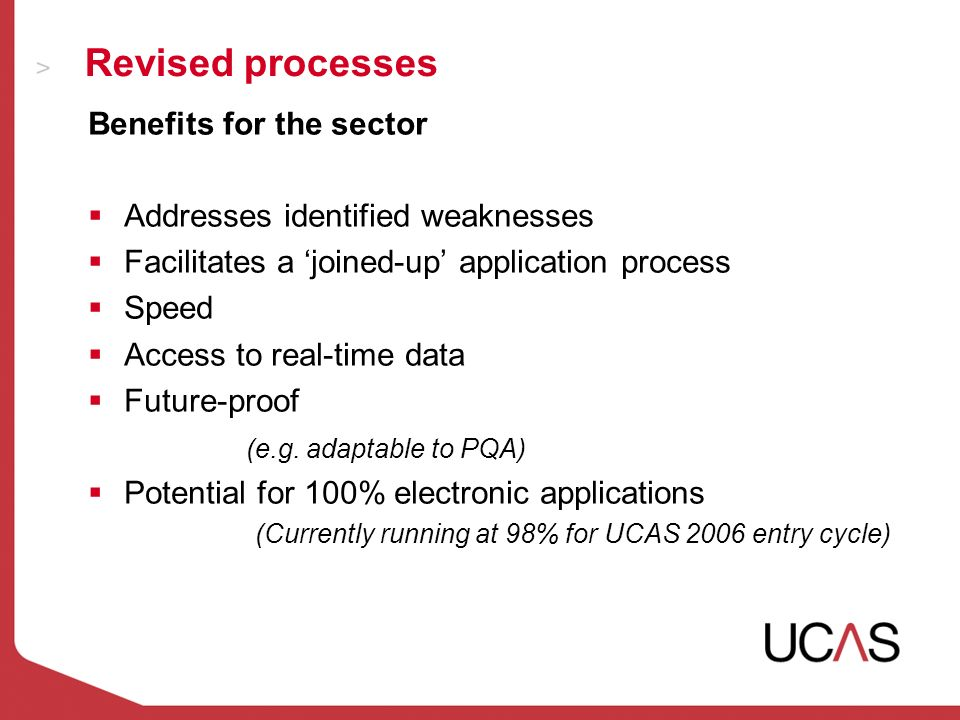 Revised processes Benefits for the sector Addresses identified weaknesses Facilitates a joined-up application process Speed Access to real-time data Future-proof (e.g.