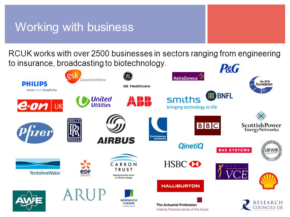 Working with business New report from RCUK UK research is key to business productivity and economic growth found: Continued public investment in research is essential for the success of UK business and industry.
