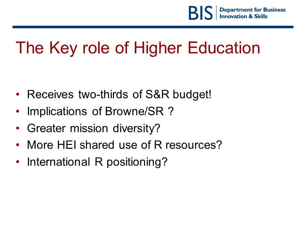 The Key role of Higher Education Receives two-thirds of S&R budget.
