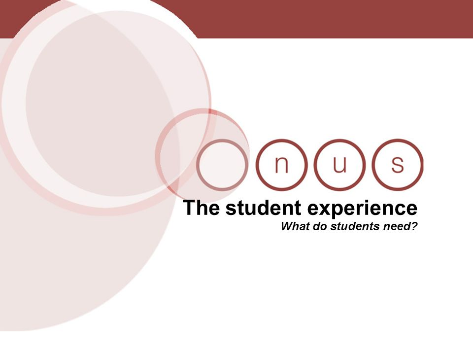 The student experience What do students need?