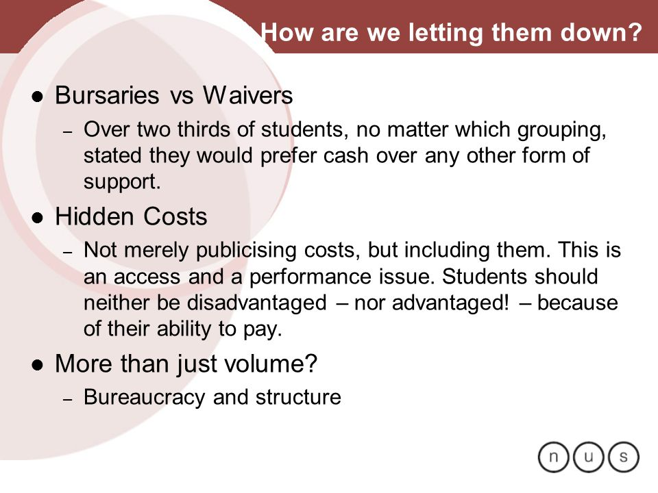 How are we letting them down? Bursaries vs Waivers – Over two thirds of students, no matter which grouping, stated they would prefer cash over any oth