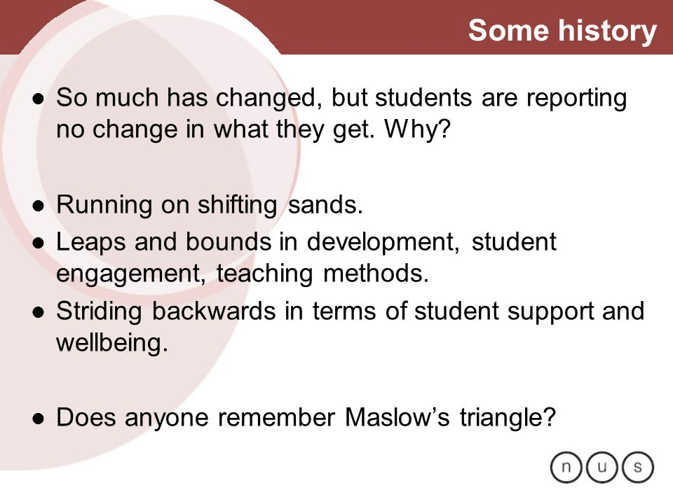 Some history So much has changed, but students are reporting no change in what they get. Why? Running on shifting sands. Leaps and bounds in developme