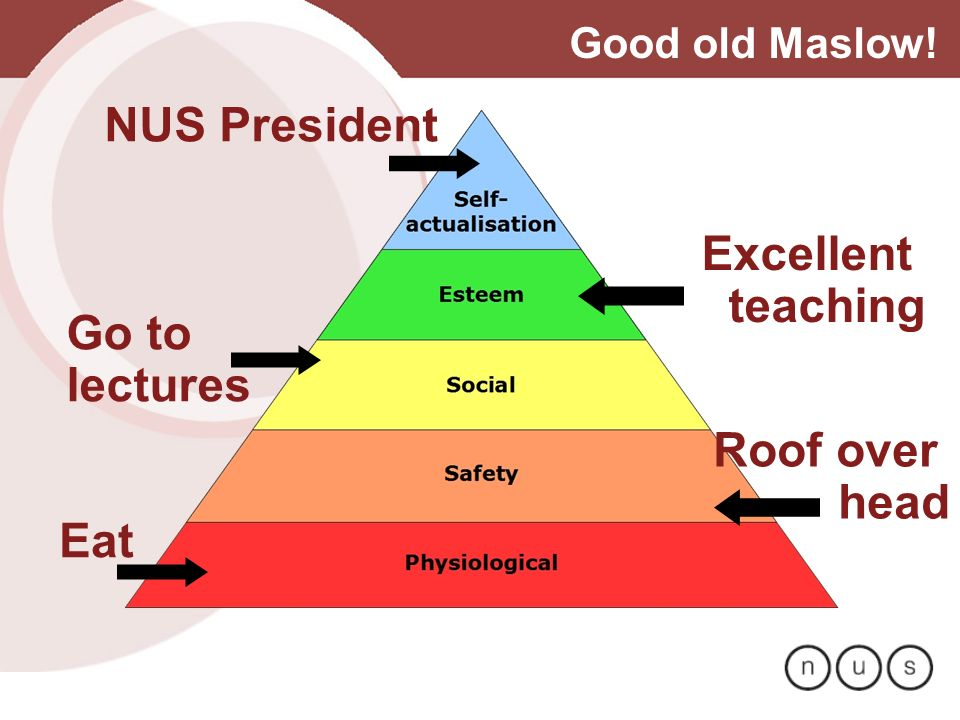 Good old Maslow! Eat Roof over head Go to lectures Excellent teaching NUS President