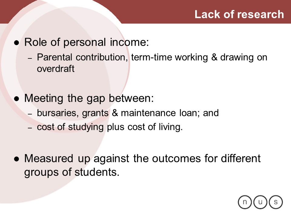 Lack of research Role of personal income: – Parental contribution, term-time working & drawing on overdraft Meeting the gap between: – bursaries, gran