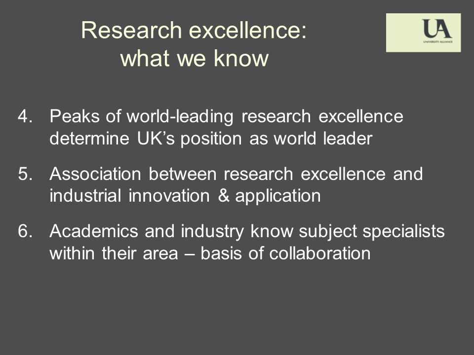 Research excellence: what we know 4.Peaks of world-leading research excellence determine UKs position as world leader 5.Association between research excellence and industrial innovation & application 6.Academics and industry know subject specialists within their area – basis of collaboration