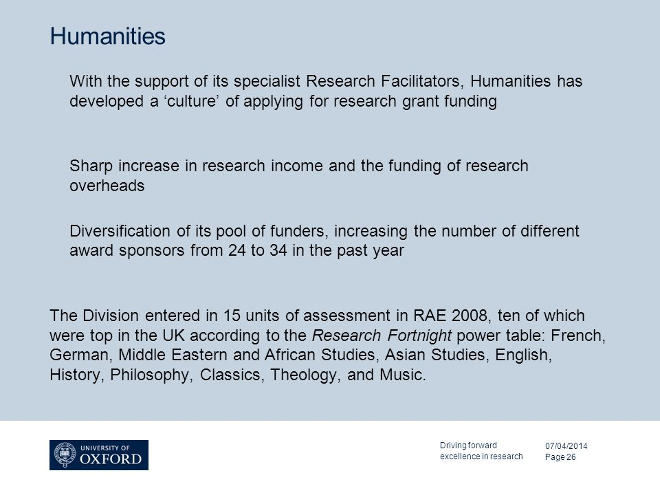Humanities With the support of its specialist Research Facilitators, Humanities has developed a culture of applying for research grant funding Sharp increase in research income and the funding of research overheads Diversification of its pool of funders, increasing the number of different award sponsors from 24 to 34 in the past year The Division entered in 15 units of assessment in RAE 2008, ten of which were top in the UK according to the Research Fortnight power table: French, German, Middle Eastern and African Studies, Asian Studies, English, History, Philosophy, Classics, Theology, and Music.
