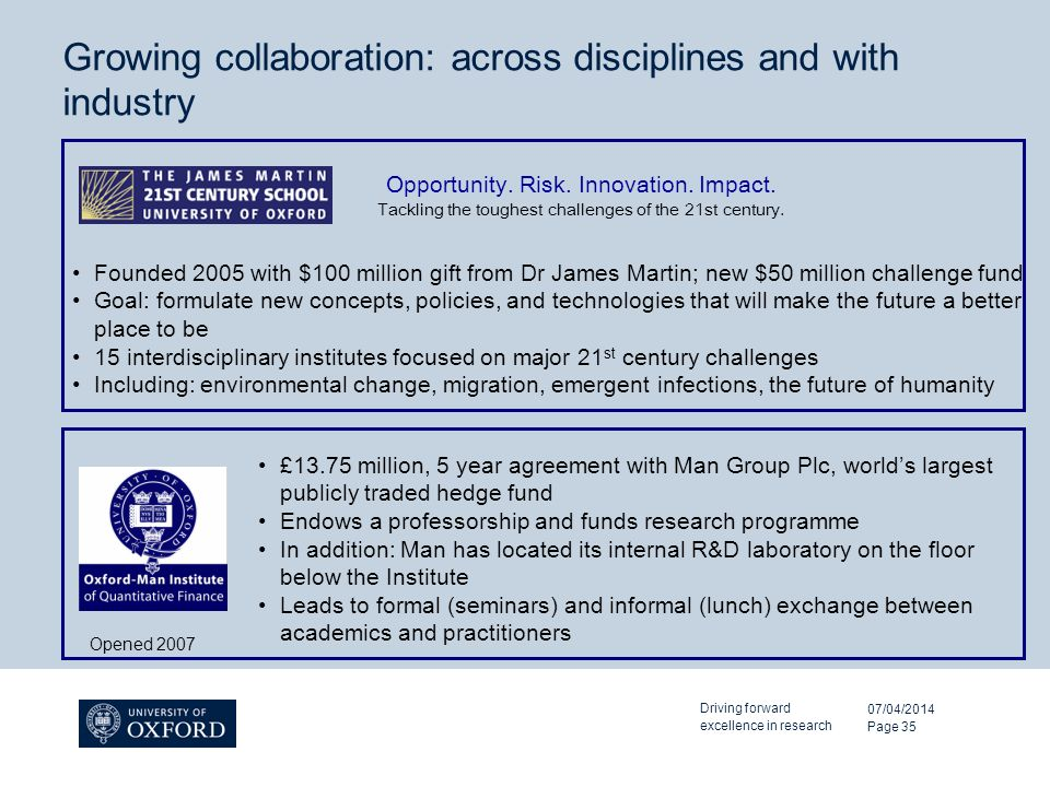 Growing collaboration: across disciplines and with industry 07/04/2014 Driving forward excellence in research Page 35 Opportunity.