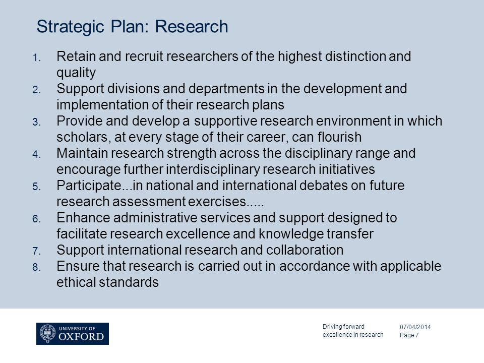 Strategic Plan: Research 1.