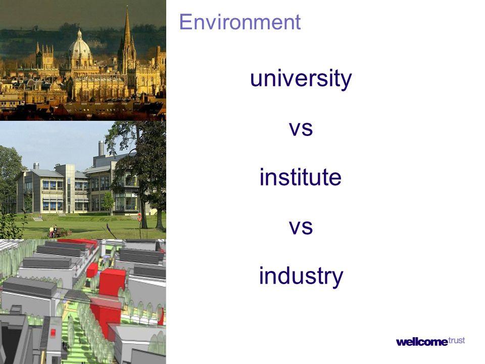 university vs institute vs industry Environment