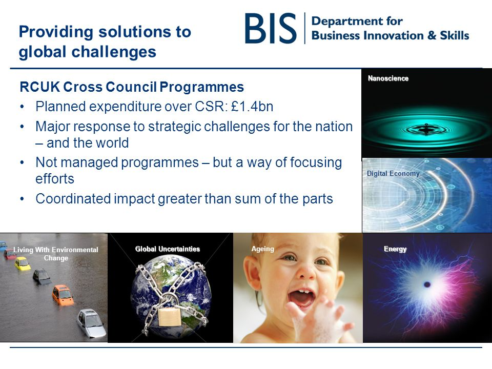 Providing solutions to global challenges RCUK Cross Council Programmes Planned expenditure over CSR: £1.4bn Major response to strategic challenges for the nation – and the world Not managed programmes – but a way of focusing efforts Coordinated impact greater than sum of the partsEnergy Living With Environmental Change Ageing Global Uncertainties Nanoscience Digital Economy
