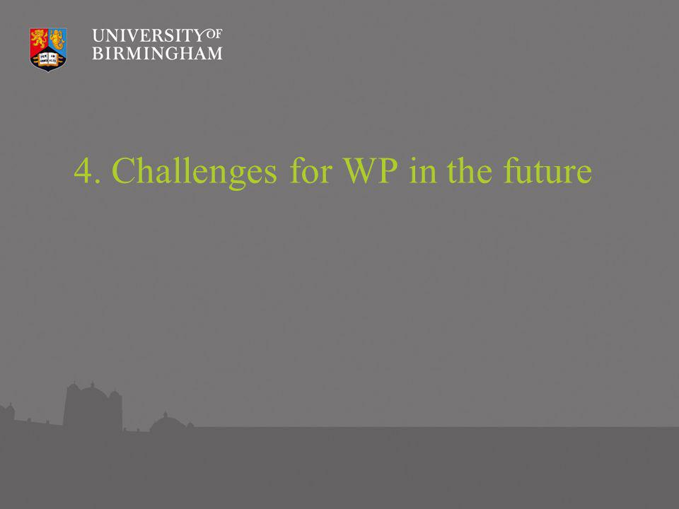 4. Challenges for WP in the future