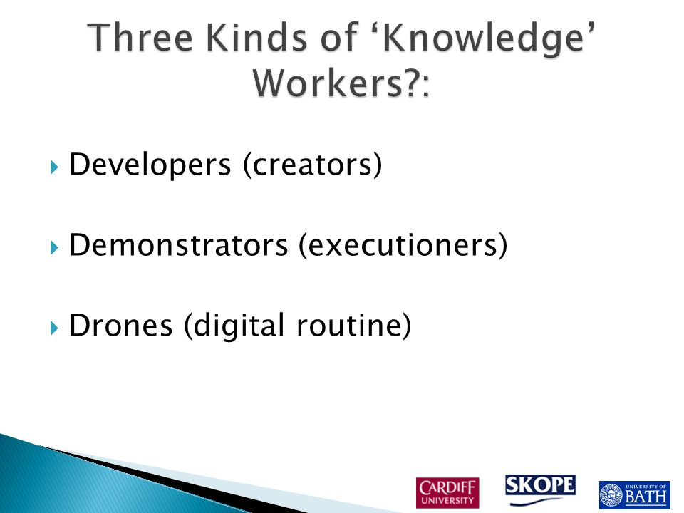 Developers (creators) Demonstrators (executioners) Drones (digital routine)