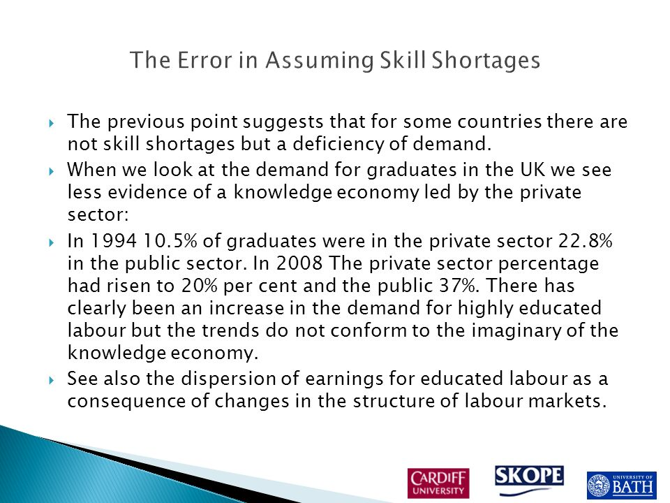 The talk of skill shortages is directly related to human capital theory and its assumption that employers will respond to more skilled graduates by upgrading jobs because it will raise productivity.