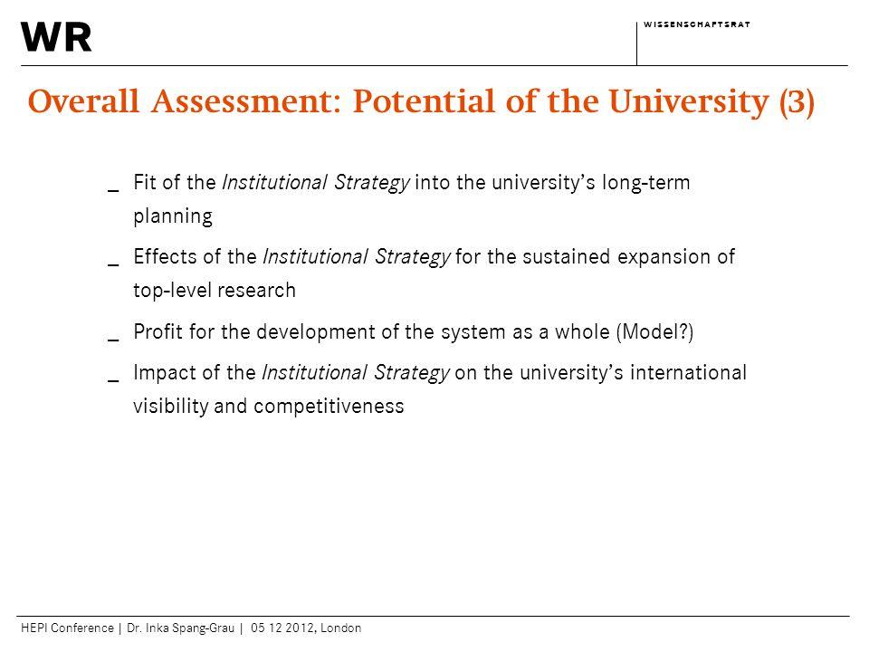 wr w i s s e n s c h a f t s r a tw i s s e n s c h a f t s r a t HEPI Conference | Dr. Inka Spang-Grau | 05 12 2012, London Overall Assessment: Poten