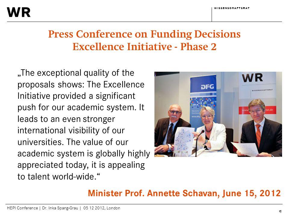 wr w i s s e n s c h a f t s r a tw i s s e n s c h a f t s r a t HEPI Conference | Dr. Inka Spang-Grau | 05 12 2012, London 15 Press Conference on Fu