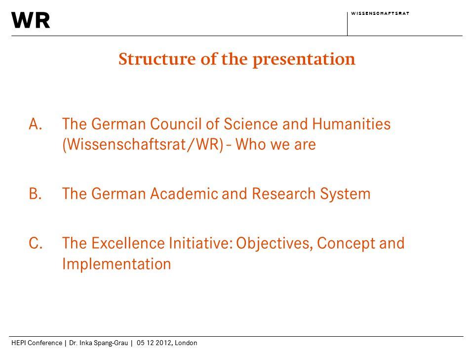 wr w i s s e n s c h a f t s r a tw i s s e n s c h a f t s r a t HEPI Conference | Dr. Inka Spang-Grau | 05 12 2012, London Structure of the presenta