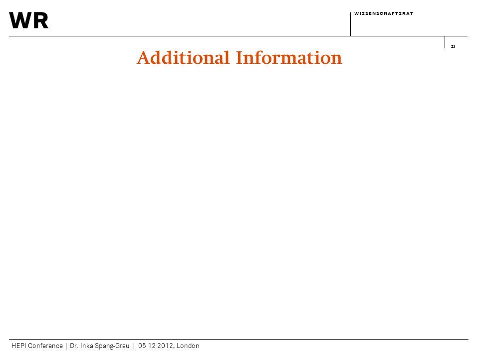 wr w i s s e n s c h a f t s r a tw i s s e n s c h a f t s r a t HEPI Conference | Dr. Inka Spang-Grau | 05 12 2012, London 21 Additional Information