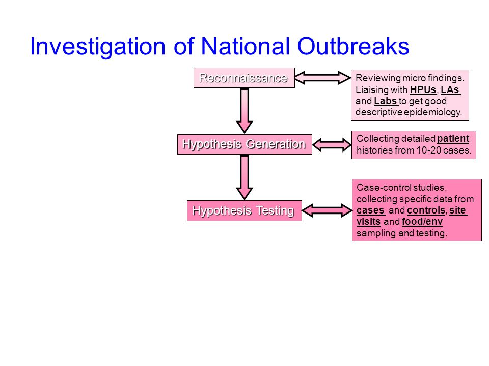 Investigation of National Outbreaks Hypothesis Generation Hypothesis Testing Reviewing micro findings.