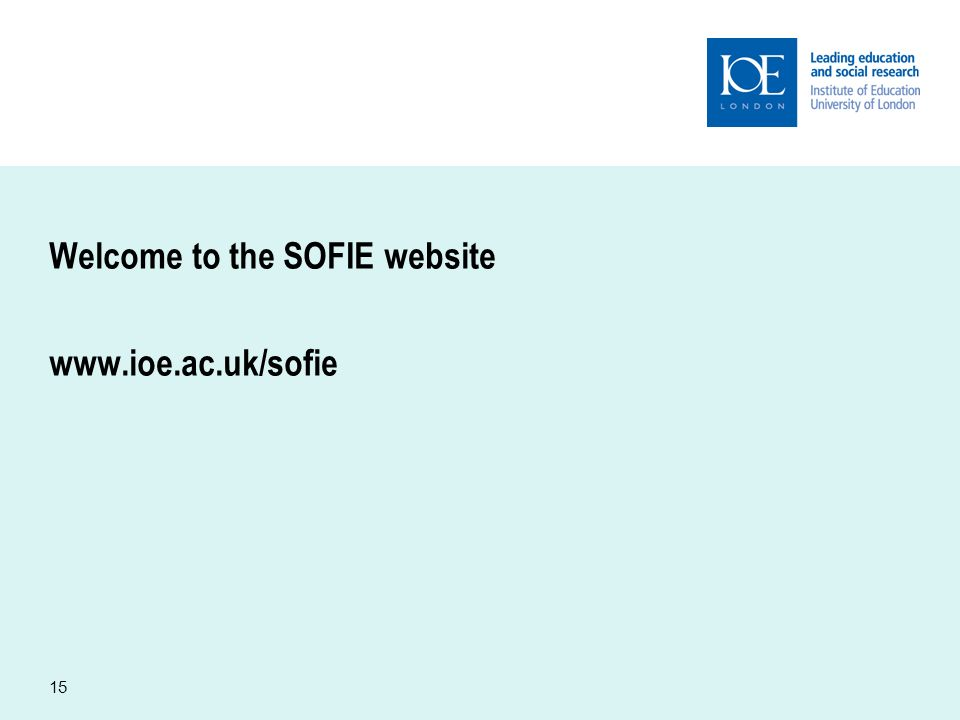 15 Welcome to the SOFIE website