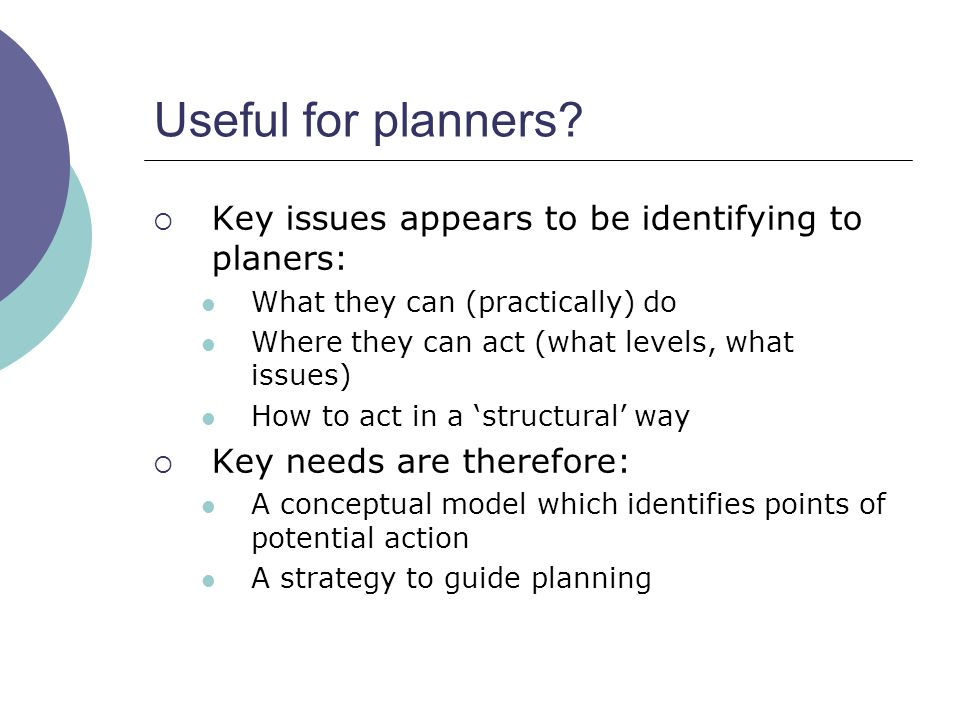 Useful for planners.
