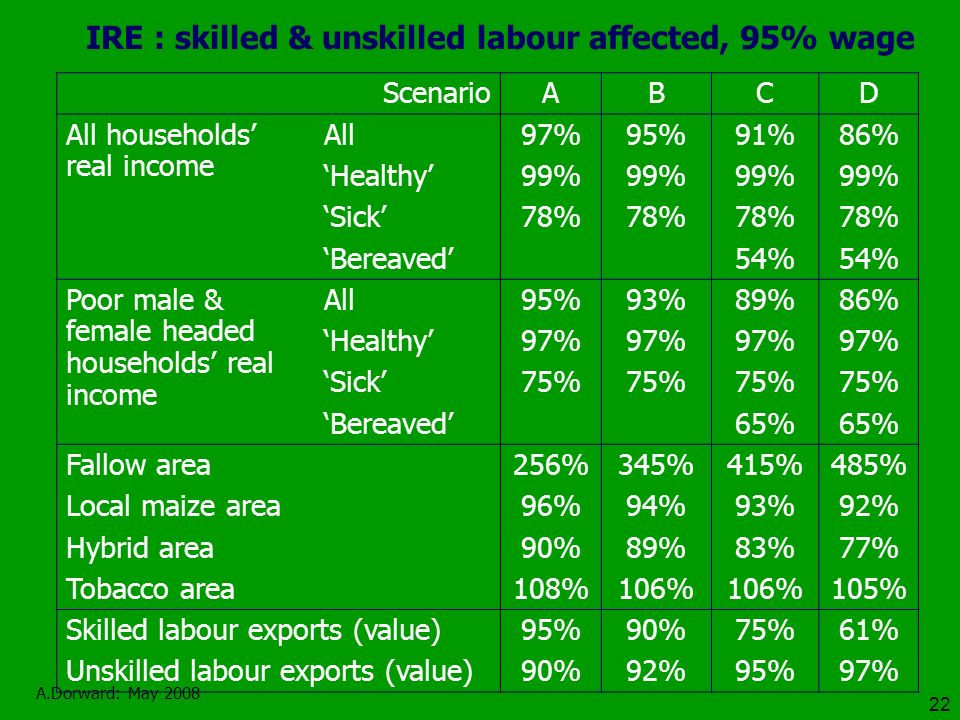 A.Dorward: May 2008 22 IRE : skilled & unskilled labour affected, 95% wage ScenarioABCD All households real income All97%95%91%86% Healthy99% Sick78% Bereaved 54% Poor male & female headed households real income All95%93%89%86% Healthy97% Sick75% Bereaved 65% Fallow area256%345%415%485% Local maize area96%94%93%92% Hybrid area90%89%83%77% Tobacco area108%106% 105% Skilled labour exports (value)95%90%75%61% Unskilled labour exports (value)90%92%95%97%