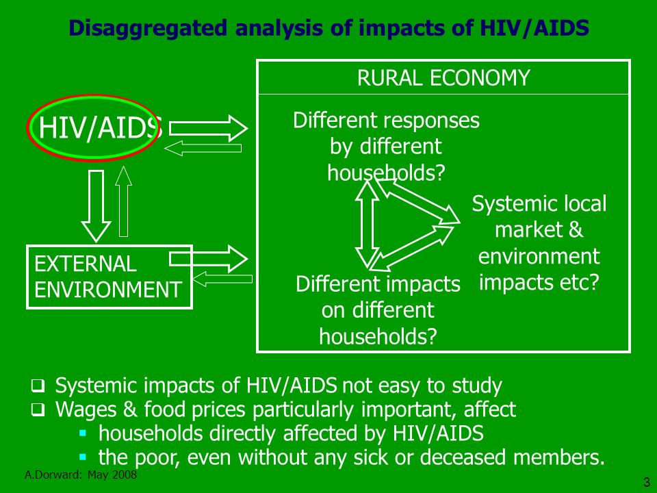 A.Dorward: May 2008 3 Disaggregated analysis of impacts of HIV/AIDS RURAL ECONOMY EXTERNAL ENVIRONMENT HIV/AIDS Different impacts on different households.