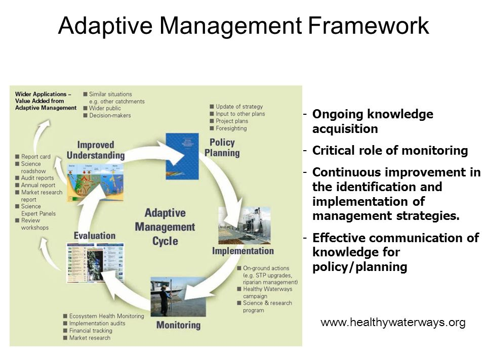 Adaptive Management Framework -Ongoing knowledge acquisition -Critical role of monitoring -Continuous improvement in the identification and implementa