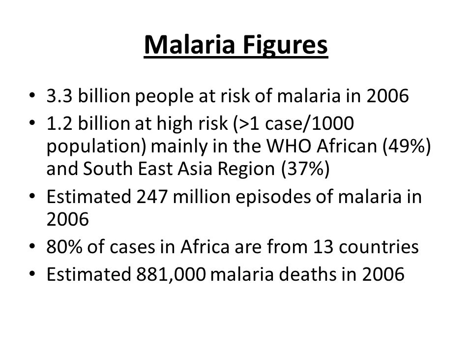 Malaria Figures 3.3 billion people at risk of malaria in billion at high risk (>1 case/1000 population) mainly in the WHO African (49%) and South East Asia Region (37%) Estimated 247 million episodes of malaria in % of cases in Africa are from 13 countries Estimated 881,000 malaria deaths in 2006