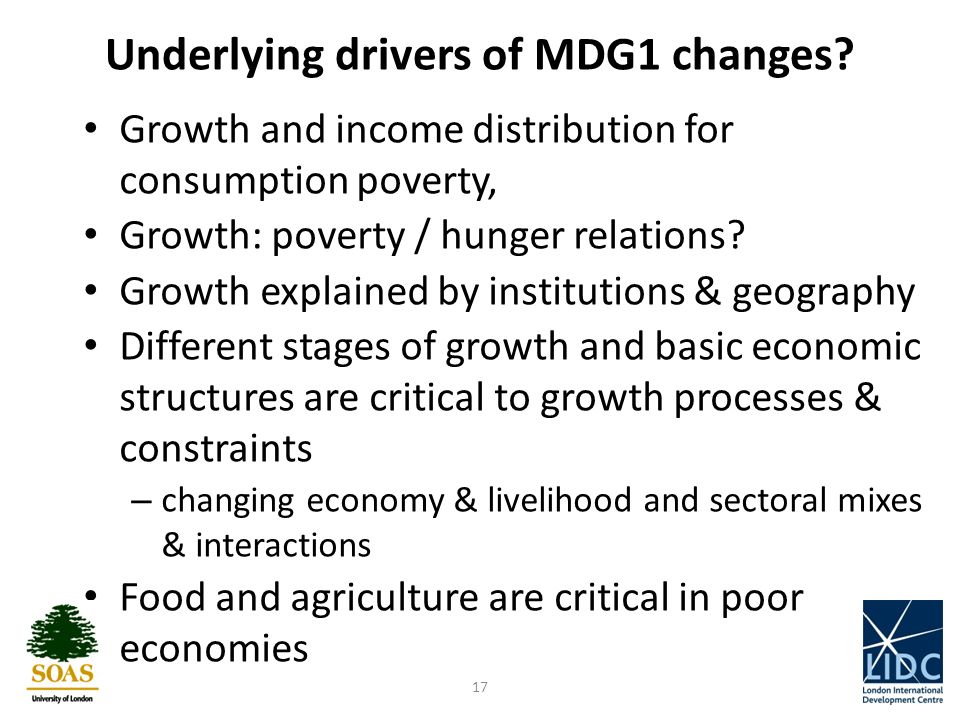 Underlying drivers of MDG1 changes.