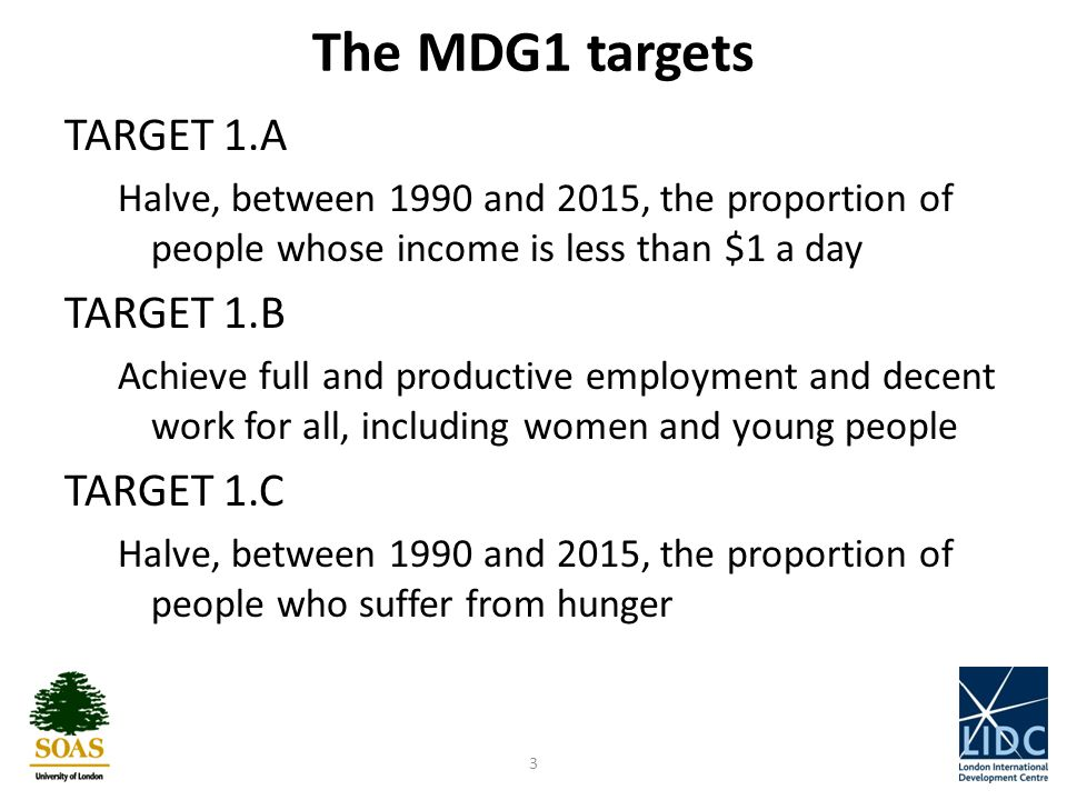 The MDG1 targets TARGET 1.A Halve, between 1990 and 2015, the proportion of people whose income is less than $1 a day TARGET 1.B Achieve full and productive employment and decent work for all, including women and young people TARGET 1.C Halve, between 1990 and 2015, the proportion of people who suffer from hunger 3