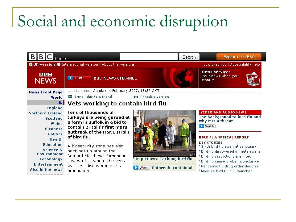 Social and economic disruption