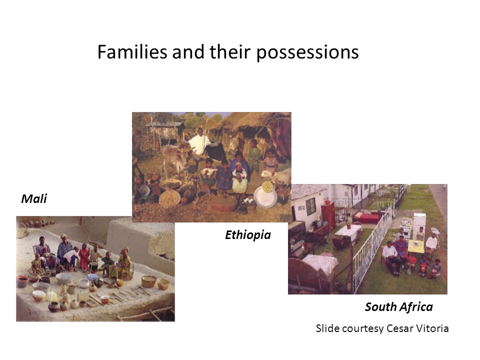 Families and their possessions Menzel P. Material World: A Global Family Portrait. San Francisco: Sierra Club Books, 1994. Ethiopia Mali South Africa