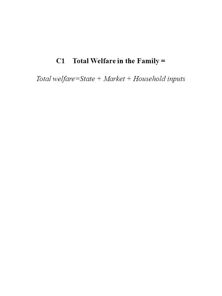 C1 Total Welfare in the Family = Total welfare=State + Market + Household inputs